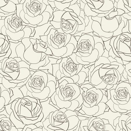 black and white plant: Rose seamless background  Vector illustration  Illustration