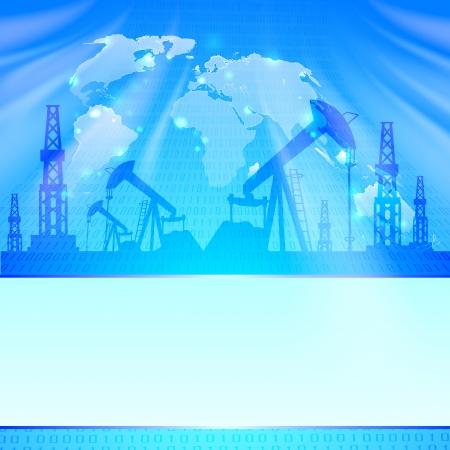 yacimiento petrolero: Bomba de aceite en la ilustraci�n azul