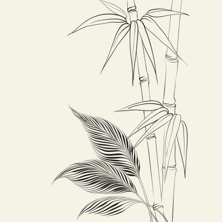 Palm tree over bamboo forest  Vector illustration  illustration