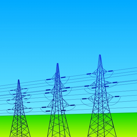Electrical lines and pylons with blue sky Stock Photo - 20875971