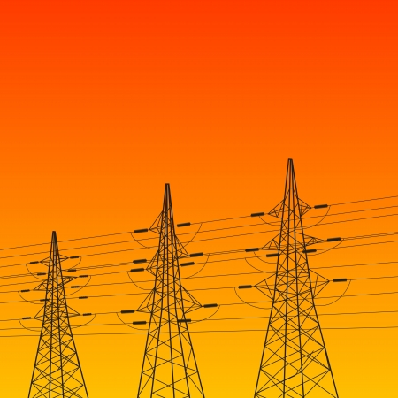 Electric pylon at sunset illustration  Stock Illustration - 20875969