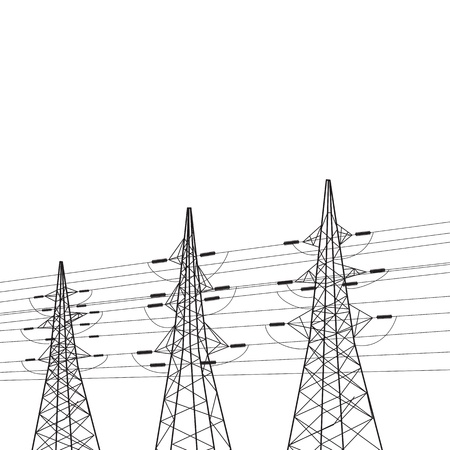 electricity pole: Electricity pole over white illustration  Stock Photo