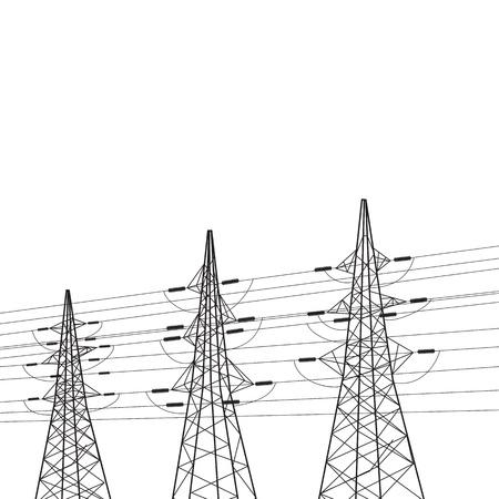 torres de alta tension: Poste de la electricidad sobre la ilustración blanca