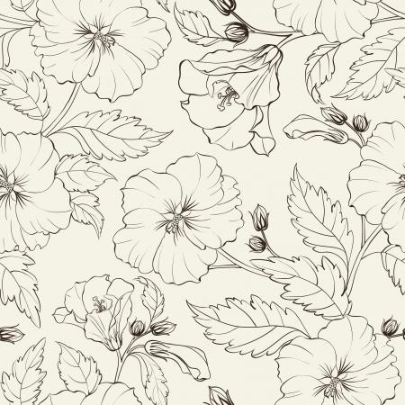 motif floral: Hibiscus fond illustration vectorielle Banque d'images