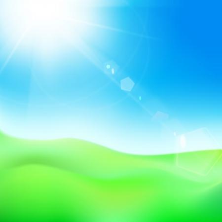 farm land: Green hill under blue sky whit sun. Vector illustration. Illustration