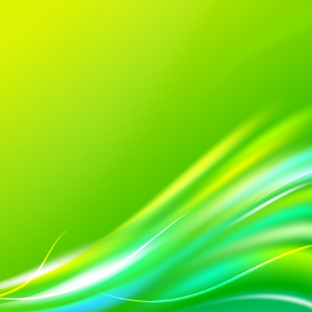 greenness: Shiny wave abstract background. Green color