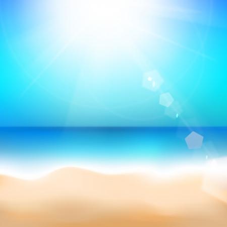 beach scene: Beach and tropical sea. Vector illustration.