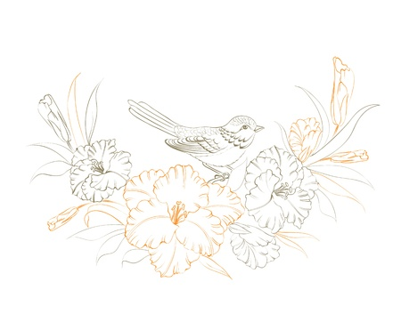 Bird sitting on iris flower. Vector illustration. Vector