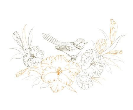 Oiseau assis sur la fleur d'iris. Vector illustration.
