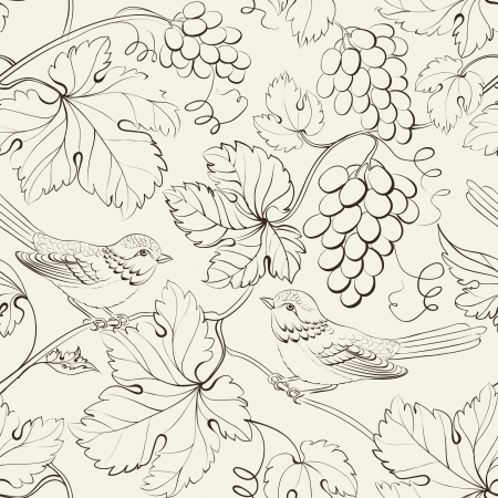 grape: Bird and grape, seamless pattern. Vector illustration.