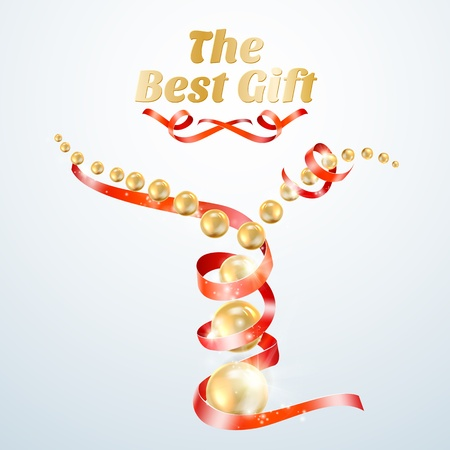 perls: Red ribbon with gold perls. Vector illustration.