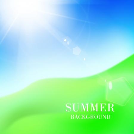 푸른 하늘 부 엉 태양 아래 녹색 언덕입니다. 벡터 일러스트 레이 션.