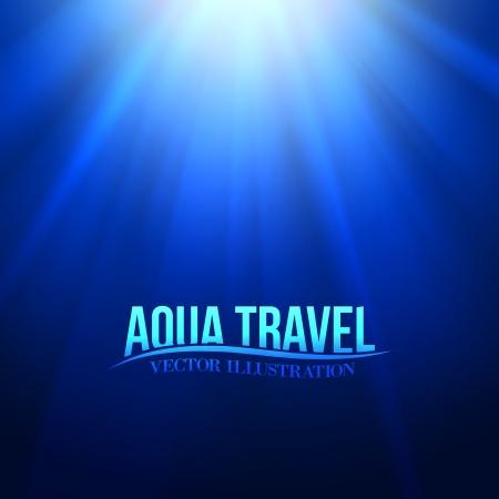 Underwater sunrays for aqua travel design. Vector illustration. Vector