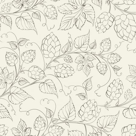 hop plant: Hop seamless pattern. Vector illustration.