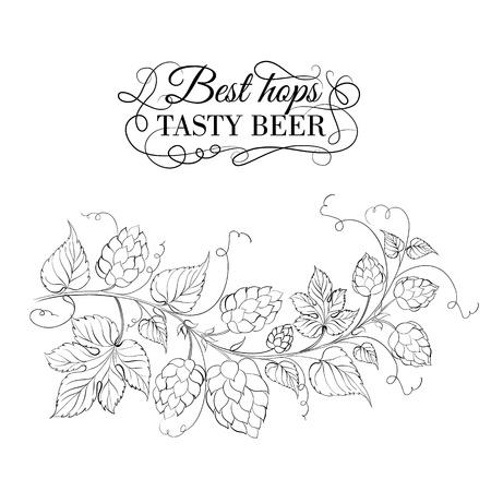 hop cone: Decorative hops garland. Vector illustration.