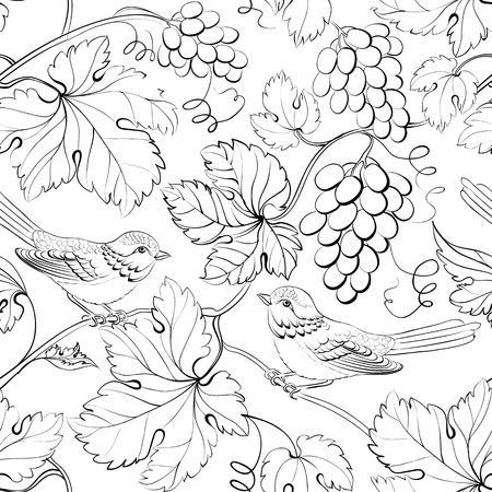 black grape: Bird and grape, seamless pattern. Vector illustration.