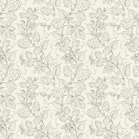 pflanzen: Hop nahtlose Muster. Vektor-Illustration. Illustration