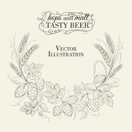 hop hops: Hop garland on a white background. Vector illustration. Illustration