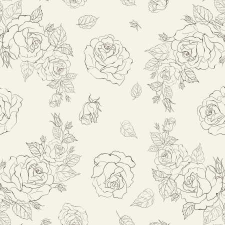 Elegance seamless pattern with flowers roses. Vector floral illustration in vintage style. Stock Vector - 21857845