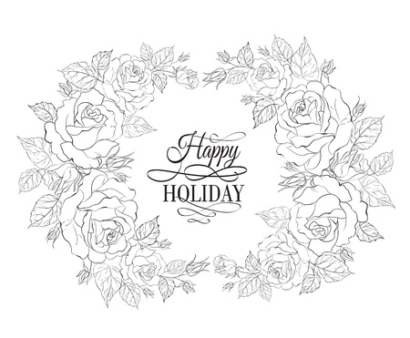 vector sample: Silhouette of rose with sample text. Vector illustration. Illustration