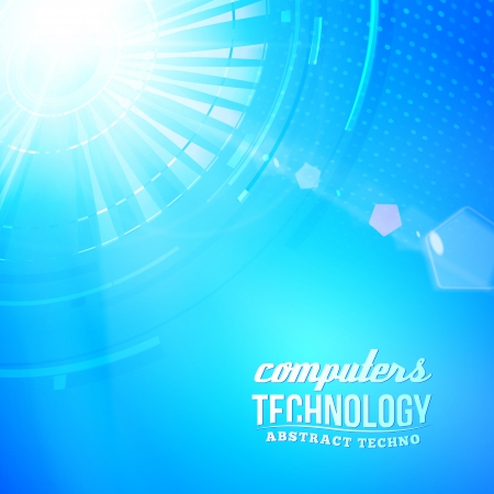 Blue abstract background with circles lines and shapes. Vector illustration, contains transparencies, gradients and effects. Vector