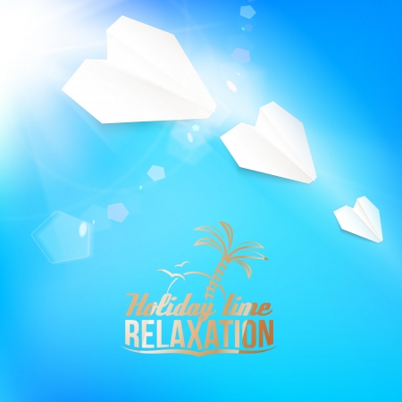 Summer background with a summer sea burst with lens flare. Vector