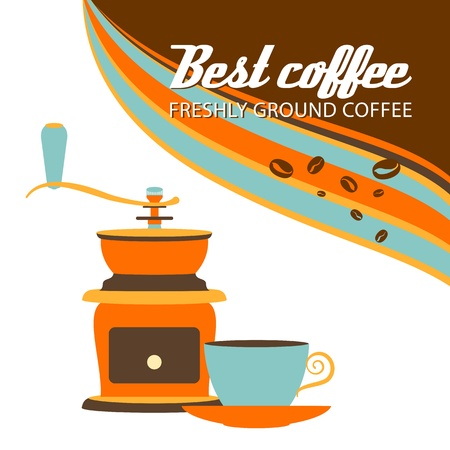 Retro cup of coffee and grinder on a white background.  Vector illustration. Vector