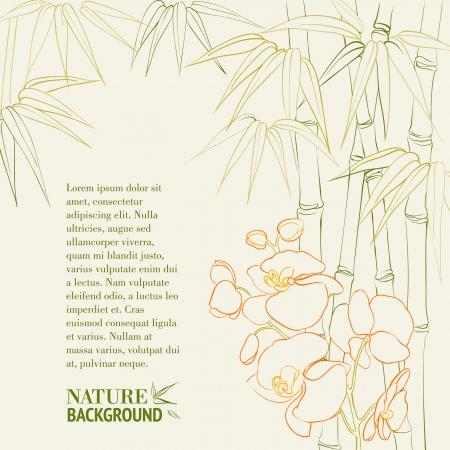Bamboe stengels met orchidee. Vector illustratie.