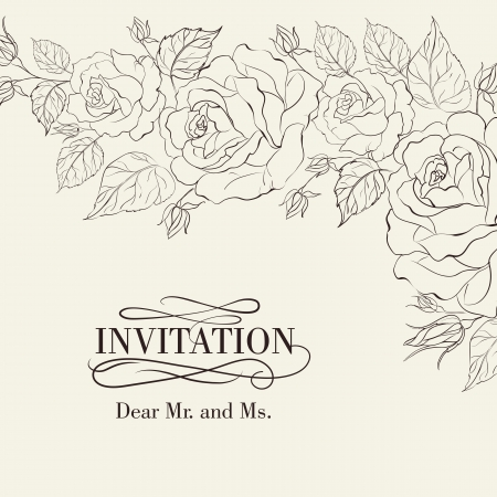 isolation: Isolation vintage frame from flowers roses. Vector illustration