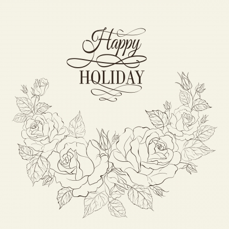 vector sample: Vintage romantic frame of roses with sample text. Vector illustration.