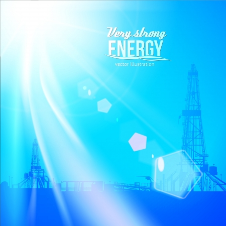 Oil rig silhouettes and blue sky.  Vector illustration Vector