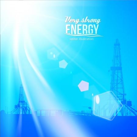 yacimiento petrolero: Siluetas de perforación de petróleo y el cielo azul. Ilustración vectorial