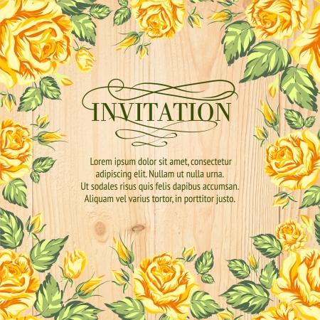 gele rozen: Gele rozen op een achtergrond van hout. Vector illustratie
