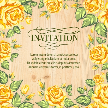 yellow vector: Yellow roses on a background of wood. Vector illustration