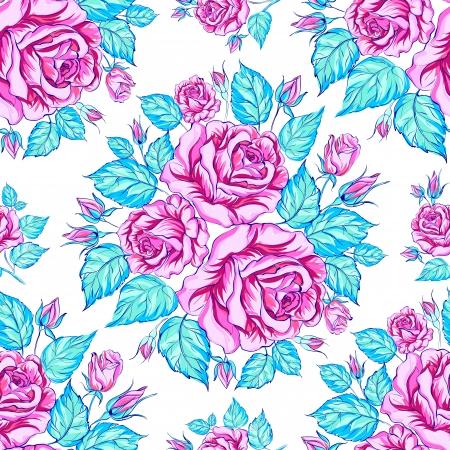 seamless texture: Nahtlose Textur der Rosen. Vektor-Illustration
