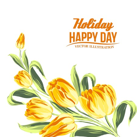 Tulip bouquet isolated over white. Vector illustration. Vector