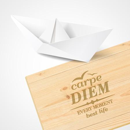 carpe diem: Stylish wooden plaque with the text Carpe diem. Vector illustration