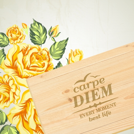 wooden plaque: Stylish wooden plaque with the text Carpe diem. Vector illustration