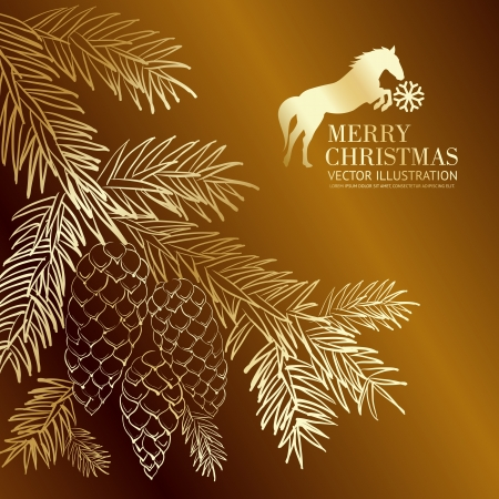 Gold  christmas fir and pinecone.. Vector illustration. Vector