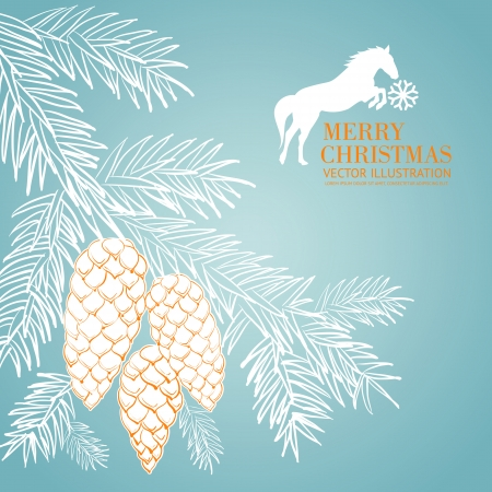 holly leaves: Bird on christmas fir and pinecone. Vector illustration.