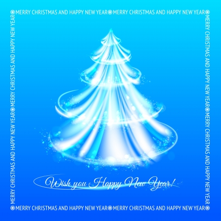 Abstract blue christmas tree background. Vector illustration. Vector