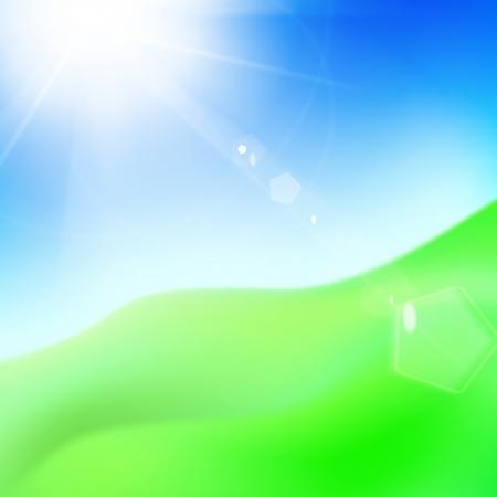 agriculture wallpaper: Green hill under blue sky whit sun. Vector illustration. Illustration