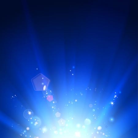 Blauwe lichtgevende stralen. Vector illustratie.
