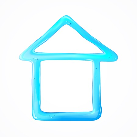 Blue house of drop water. Vector illustration. Vector