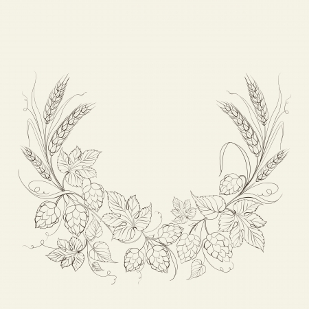 Hop garland on a white background. Vector illustration. Illustration