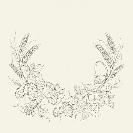 Hop Kranz auf einem weißen Hintergrund. Vektor-Illustration. Vektorgrafik