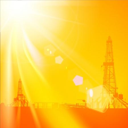 drilling platform: Oil rig silhouettes and orange sky.  Vector illustration