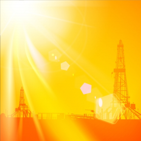 Oil rig silhouettes and orange sky. Vector illustration