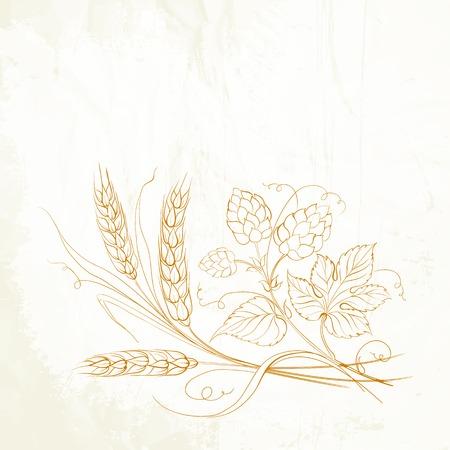 黄金の小麦とセピアにホップ。ベクトル イラスト。