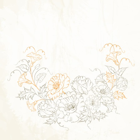convolvulus: Floral background with hand drawn poppy and convolvulus. Vector illustration.